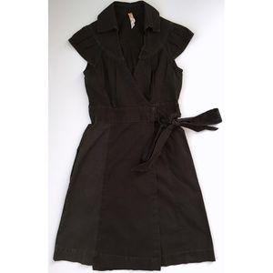 ANTHROPOLOGIE Maeve Dark Brown Cotton Belted Dress